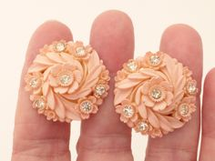 Pale Pink Featherlite Bubbleite Celluloid and Rhinestones Floral Screw Back Earrings