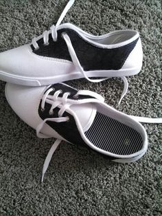 DYI saddle shoes...cheap pair of keds and a black sharpie. Great for a 50's dance!