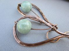 FREE domestic shipping/Russian Amazonite Wire Wrapped in Copper Hammered Earrings