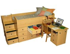 Berg Furniture Sierra Captain's Low Loft Bed with Pull-Out Desk and Stairs