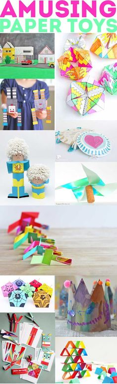 Roundup of amusing paper toys for elementary aged children and older to make!