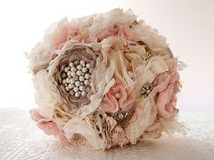 Fabric Flower Custom Wedding Bouquet with rhinestone by Cultivar, $425.00