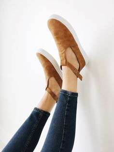 Suede T-Strap Flats Brass Adjustable Buckles Rubber Soles Fit True to Size Also Available in Black