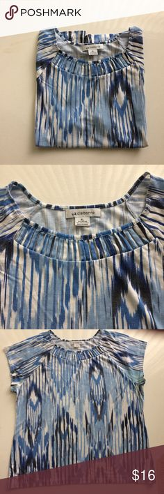 Liz Claiborne Size XL Blue/White/Grey Top Liz Claiborne short sleeve top. Interesting detail at the scoop neck. 70% rayon 30% polyester. Liz Claiborne Tops Tees - Short Sleeve