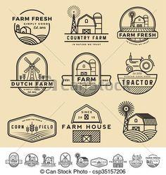 Set of vintage and modern farm badge logo and labels design. vintage and modern farm badge logo and labels Badge Design, Label Design, Web Design, Logo Design, Design Set, Logos Vintage, Logos Retro, Logo Label, Vector Logos