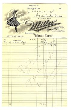 Miller Brewing Co. letterhead with girl on moon. more at link