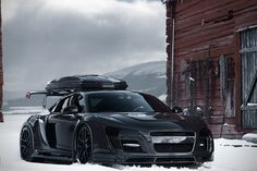 Jon Olsson's Carbon Fiber Audi R8 Razor GTR... Amazing skier, sweet ski transport. Rocketbox a little ugly here, but needed for the pow boards... Top contender!