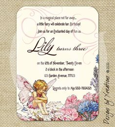 Garden Fairy Enchanted Invitation - customizable text - digital invitation, print your own - 5x7 inches