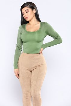 242625272e8c0 Roundneck Bandage Top - Olive. SleevesJanet GuzmanWomens FashionCrop TopsModelsGirlsFemale  ...