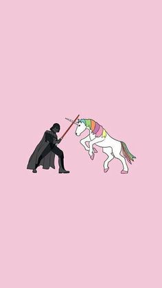 Darth Vader VS The Magical Unicorn wallpaper Unicorn And Glitter, Real Unicorn, Rainbow Unicorn, Magical Unicorn, Darth Vader, Photo Star, Unicorns And Mermaids, Mythical Creatures, Illustration