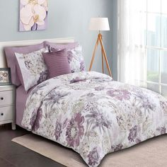 Bring the warmth into your bedroom with the beautiful Sienna Reversible Comforter Set. Featuring oversized floral prints and luxurious embellishments, this comforter set includes everything you need for turning your room into a summer getaway. Purple Comforter, Floral Comforter, Queen Comforter Sets, Purple Bedding Sets, Designer Bed Sheets, Luxury Bedding, Bedroom Decor, Bedroom Ideas, Master Bedroom