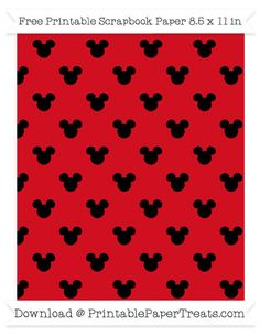 Free Lava Red Small Mickey Mouse Head Pattern Paper