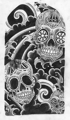 Rose And Mexican Candy Skull Sleeve Tattoo Design photo - 3