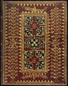 This early 18th century red goatskin binding, onlaid in black, sparkles with gold leaf. It was bound by the Geometric Compartment Binder ca.1703, probably at the request of the author as a...