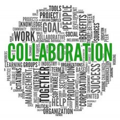 Collaboration concept in word tag cloud isolated on white background Stock Photo