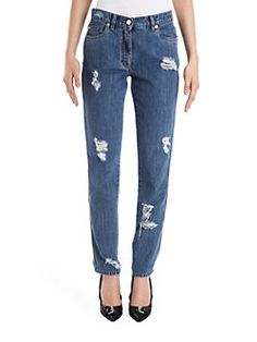 Moschino - Distressed Five-Pocket Jeans