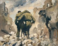 Wounded at Cassino by Peter McIntyre | NZHistory, New Zealand history online