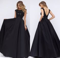 Style 32359 in black. Sheri Hill long black dress