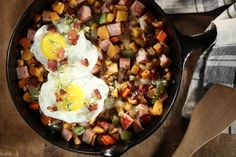 Bacon Butternut Hash With Ham and Eggs