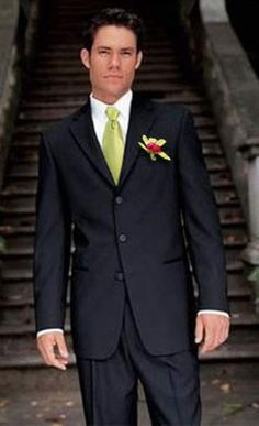 Grooms Tux: Black tux with green tie and vest. Photo credit: Al's ...