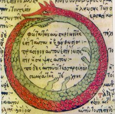 One of the oldest conceptions of infinity, originating in Egypt, couched it as a serpent or dragon eating its own tail. The creature, named Ouroboros, symbolized the cyclic nature of life, and the notion that this cycle continues forever. One theory holds that the modern-day infinity symbol, a sideways figure eight, is derived from Ouroboros. This (public domain) image shows a drawing of Ouroboros by Theodoros Pelecanos, in his alchemical tract titled Synosius (1478).