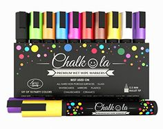 Premium Chalk Markers - Set of 10 neon color pen. Used on Chalkboards, Window, Labels, Bistros, Ceramic, Glass, Metal Surfaces, Whiteboards. Water based wet wipe ink pens - Fine tip, Odor Free, Writes Smoothly, Quick Dry, Washable Wet Erase paint marker, Kid friendly liquid chalk - 6 mm Bullet Tip. Chalkola http://www.amazon.com/Premium-Chalk-Markers-Chalkboards-Whiteboards/dp/B00PM473TK/  #chalkmarkers #chalkboardmarkers #chalkpen
