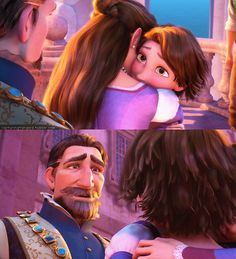 Rapunzel and her father. This made me cry at the movies. Makes me tear up just looking at this!