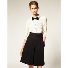 Bow Tie: Asos Star Print Peter Pan Collar Blouse, found on #polyvore. #blouses #dresses body parts #people