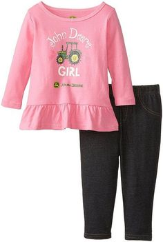 Long sleeve tunic top with comfortable cotton/spandex denim pants Pant: Spandex Imported Machine Wash Shirt: 100 percent cotton jersey Pant: 72 percent percent po Twin Girls Outfits, Cute Baby Girl Outfits, S Girls, Toddler Outfits, Baby Girls, Infant Girls, John Deere Baby, Girls Tunics, Baby Kids Clothes