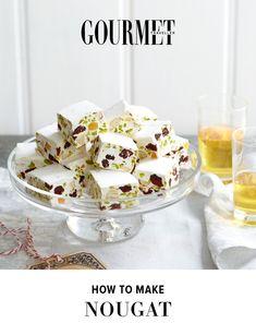 Cranberry, pistachio and almond nougat recipe Candy Recipes, Sweet Recipes, Dessert Recipes, Desserts, Almond Nougat Recipe, Homemade Sweets, Confectionery, Sweet Treats, Yummy Treats