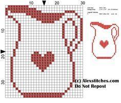 jug kitchen cross stitch pattern monochrome - free cross stitch ...