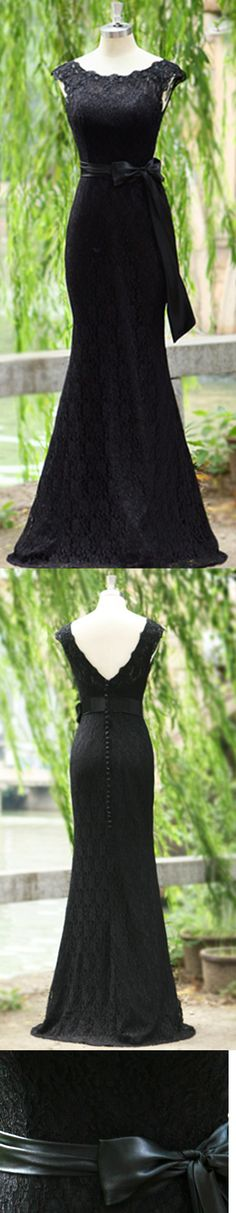 Exquisite Mermaid Black Lace Evening Dress Scoop Neckline Ribbon Backless Floor-length Evening Gowns, long prom dresses, Mother of the Bride Dresses, Lace cocktail dress,Off the Shoulder evening dress, lace wedding dress,Trumpet / Mermaid prom dress,