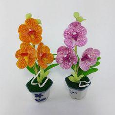 2Miniature Handmade Thai Clay Tiny Vanda Orchid Flower Ceramic Pot Dollhouse New #Handmade