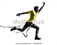 one caucasian man young sprinter runner running  winner at finish line  in silhouette studio  on white background - stock photo