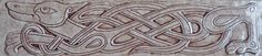 """4 x 18, 1/2"""" thick relief carved Celtic dog tile"""
