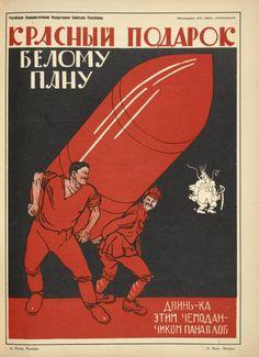 Krasnyi podarok belomu panu. Dvin'-ka etim chemodanchikom pana v lob.  [Red gift to white Polish landowner] (1925). Vintage Russian revolutionary texts at New York Digital Library Collection.