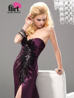 Flirt PF4141 in midnight ameythst with black feathers.