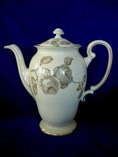 Vintage CASTLETON Fine China Gloria Pattern Coffee Pot w/Lid - Made in U.S.A #CASTLETONFINECHINA