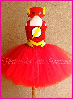 Flash Girl Tutu Dress PERFECT for Hudson's superhero party!!! @Heather Creswell Creswell Hawkins