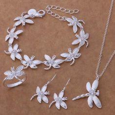 Silver Jewelry Sets Bracelet 047 + Necklace 112 + Earring 154 + Ring 262 /bmkakdra eliancpa AS140