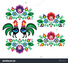 Polish Ethnic Floral Embroidery With Roosters - Traditional Folk Pattern Stock Vector Illustration 139389353 : Shutterstock