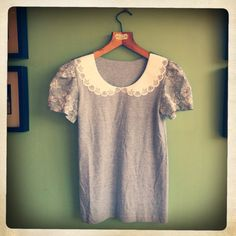 Grey TShirt with Flocked Teacup Peter Pan Collar and by LucyTeacup