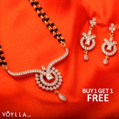 An ornament that graces a bond of forever promises ♥♥♥  Mangalsutra Set Decked With White CZ Featuring Double Chains PRODUCT CODE: 225799 ‪#‎Mangalsutra‬ ‪#‎JewelleryOnline‬ ‪#‎JewelleryCollectionOnline‬