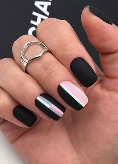 The 45 pretty nail art designs that perfect for spring looks 30 Nail Art Designs, Black Nail Designs, Ombre Nail Designs, Nail Art Vernis, Basic Nails, Geometric Nail Art, Pretty Nail Art, Best Acrylic Nails, Nagel Gel