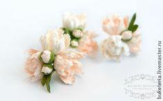 Мини пионы для прически - цветы из полимерной глины,цветы из глины,цветы ручной работы
