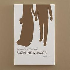 Gift Idea: Personalized Small Bride & Groom Silhouette Canvas Art