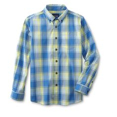 Basic Editions Boys' Button-Front Shirt - Plaid, Size: Medium, Plume