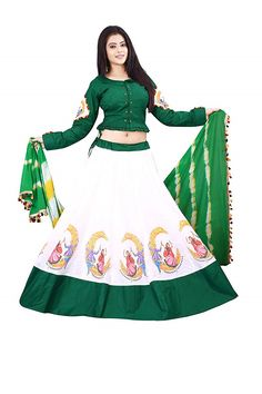 Buy Online White & Green, Cotton Lehenga Choli with Dupatta Which Gives You Modern Look Available At Best Price in India. Choli Dress, Lengha Choli, Lehenga Choli Online, Bandhani Dress, Sharara, Sarees, Salwar Neck Designs, Choli Designs, White Blouse Designs