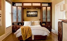 Wood Cabinet and TV with Bed Furniture Sets in Modern Bedroom Interior Decorating Design Ideas Small Bedroom Design Ideas with Cozy and Contemporary Decoration Small Bedroom Interior, Small Bedroom Storage, Small Space Bedroom, Small Bedroom Furniture, Small Master Bedroom, Small Bedroom Designs, Small Rooms, Small Spaces, Bedroom Decor