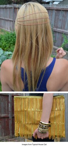 DIY hairchains and chain-fringed handbag